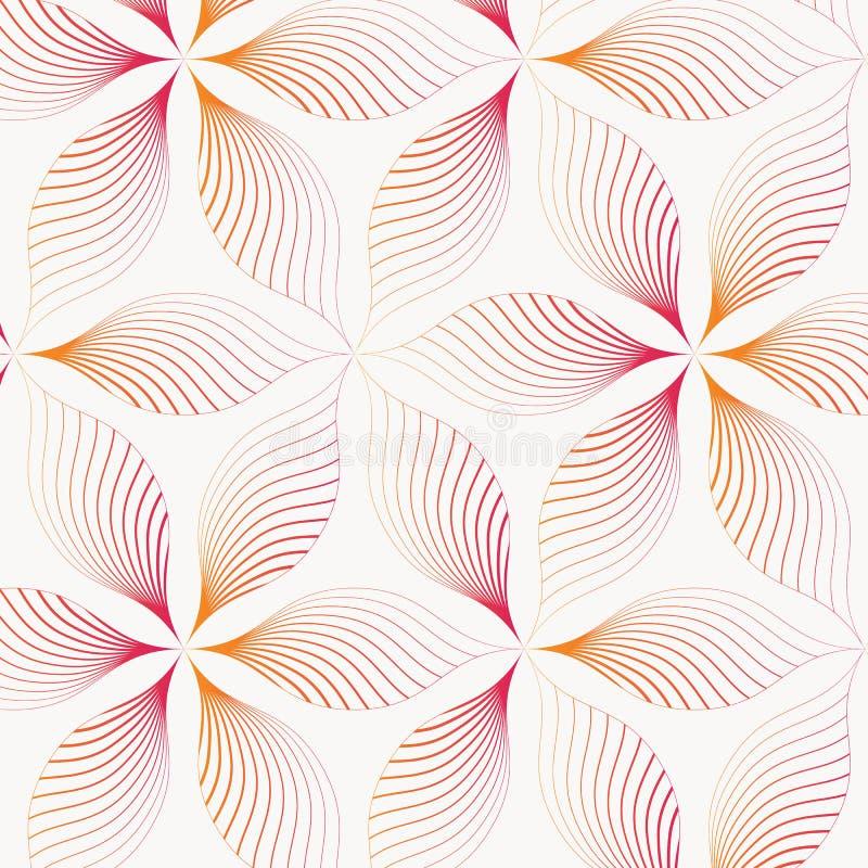 Teste padrão abstrato de folha linear ou de flor, repetindo o ouro cor-de-rosa na flor O teste padrão está limpo para o projeto,  ilustração stock