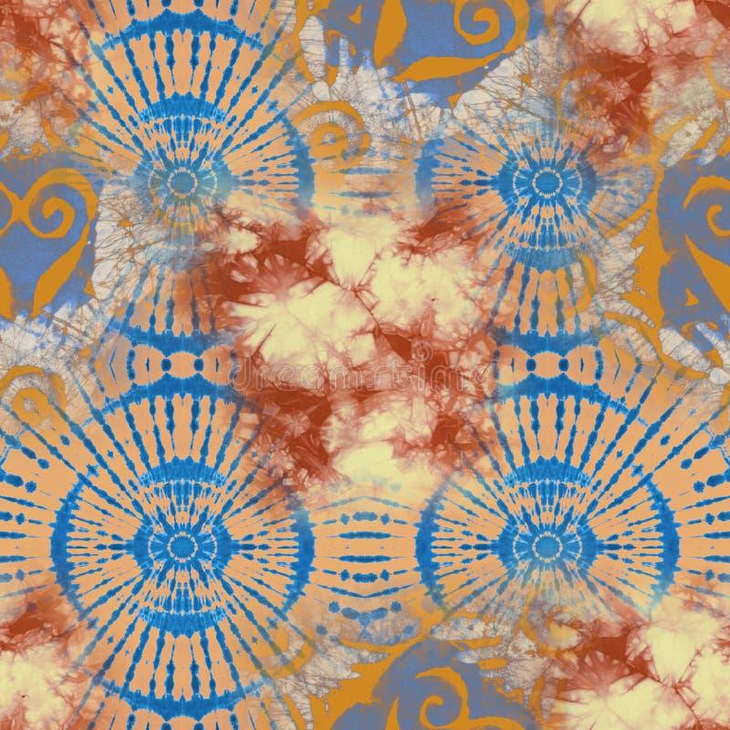 Teste padrão abstrato de matéria têxtil da laço-tintura do batik - ilustração imagens de stock