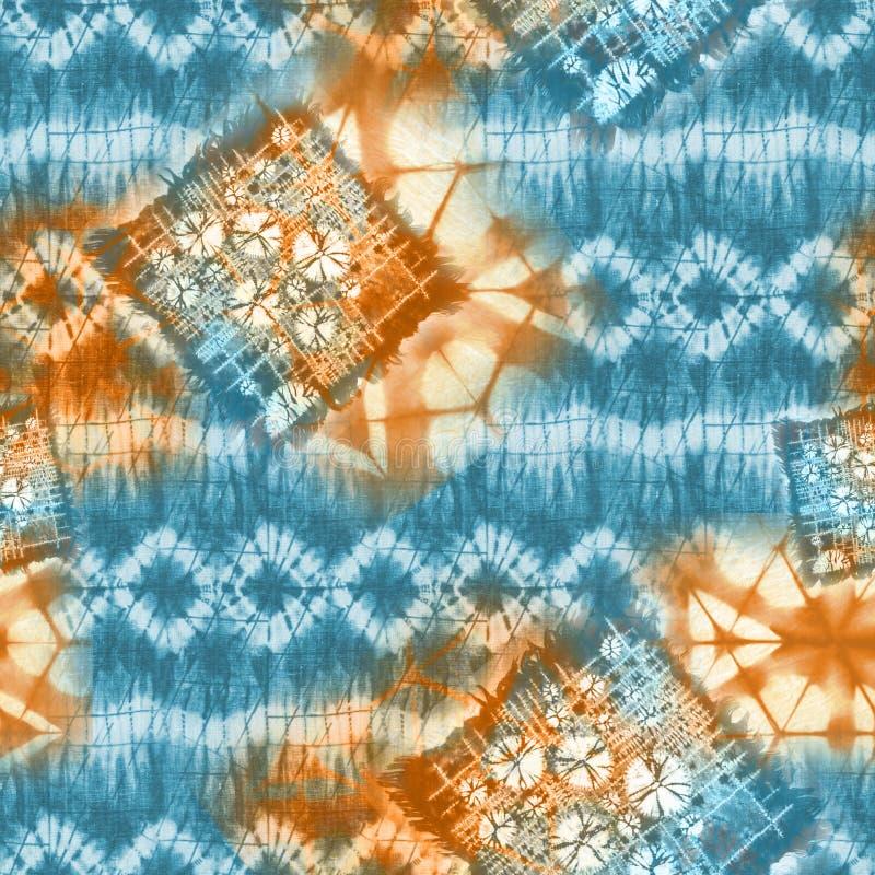Teste padrão abstrato de matéria têxtil da laço-tintura do batik - ilustração fotos de stock