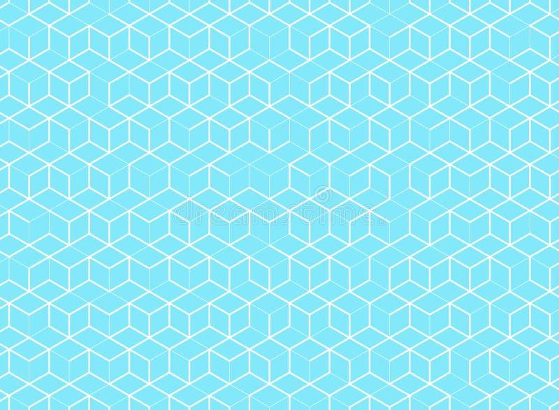 Teste padrão abstrato do cubo no fundo azul Linha geométrica de Digitas ilustração stock