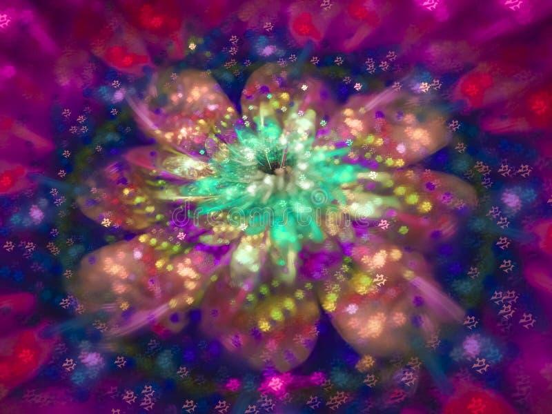 Teste padrão abstrato do Fractal, propaganda delicada colorida da flor criativa bonita da onda do vime do projeto gráfico ilustração stock