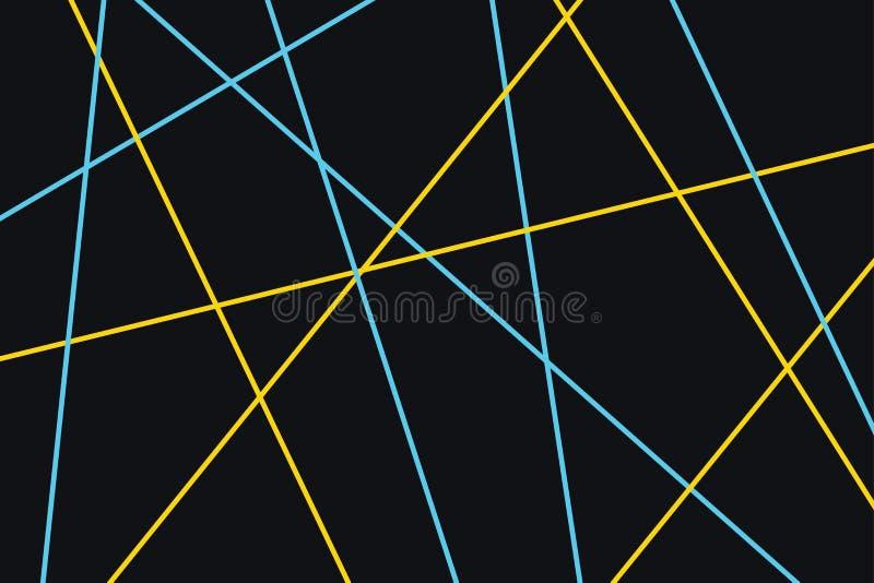 Teste padrão abstrato do fundo feito com cursos coloridos azuis e amarelos ilustração stock