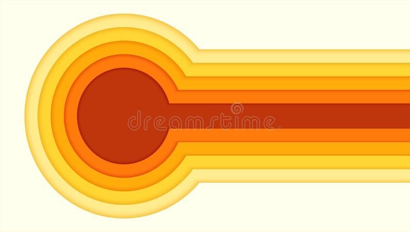 Teste padrão abstrato do papel colorido do corte Projeto do cartaz com multi cinzeladura das camadas do papel Molde horizontal do ilustração royalty free