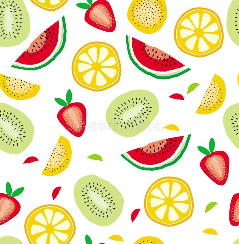Teste padrão abstrato do vetor dos frutos do corte da metade Fundo branco Projeto infantil ilustração stock