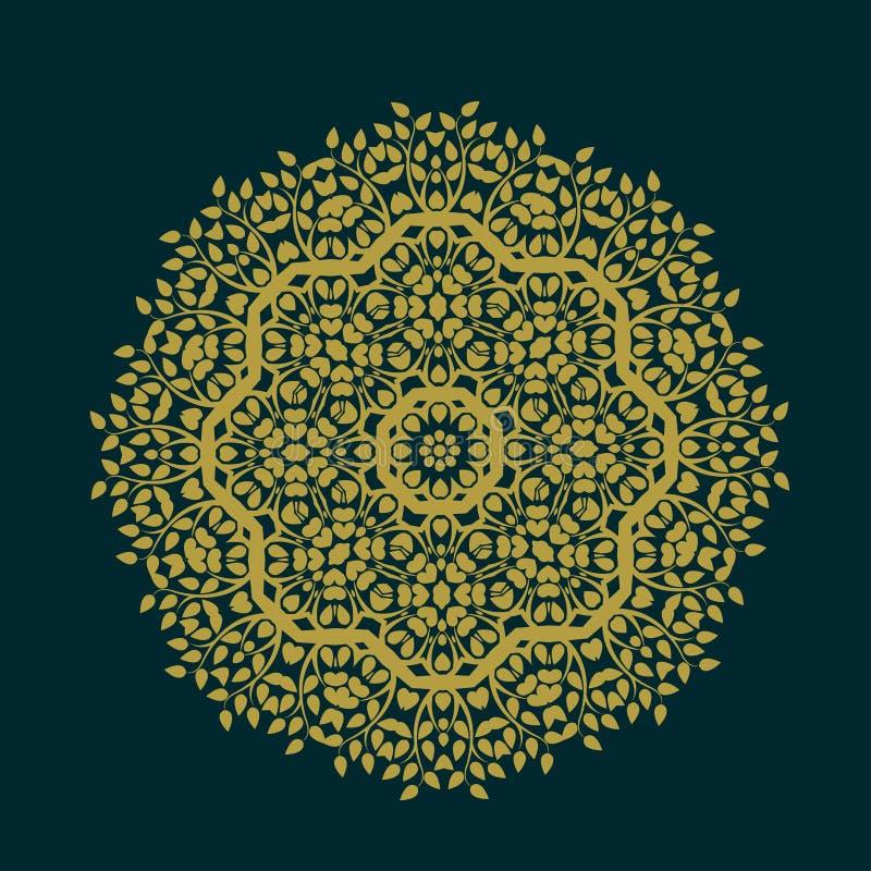 Teste padrão abstrato dos círculos com folha e isolado floral do conceito no fundo, no vetor & na ilustração ilustração royalty free