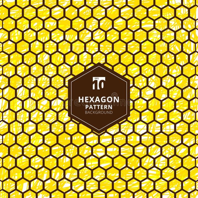Teste padrão abstrato dos hexágonos no fundo do amarelo da tração da mão da escova ilustração do vetor