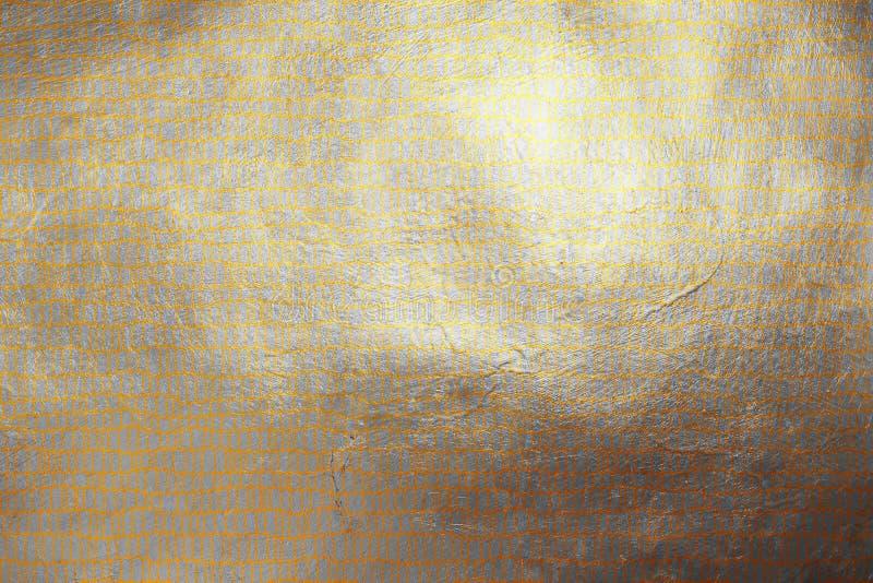 Teste padrão abstrato dourado moderno Shinning da textura da dinâmica quadriculado criativa no fundo de prata Elemento do projeto ilustração stock