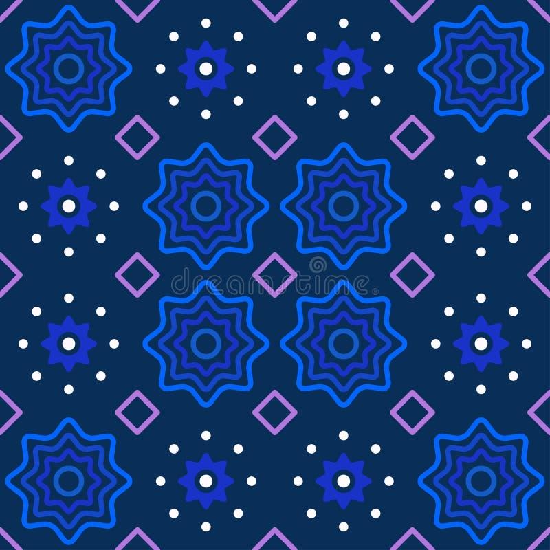 Teste padrão abstrato em roxo azul e branco profundos imagem de stock