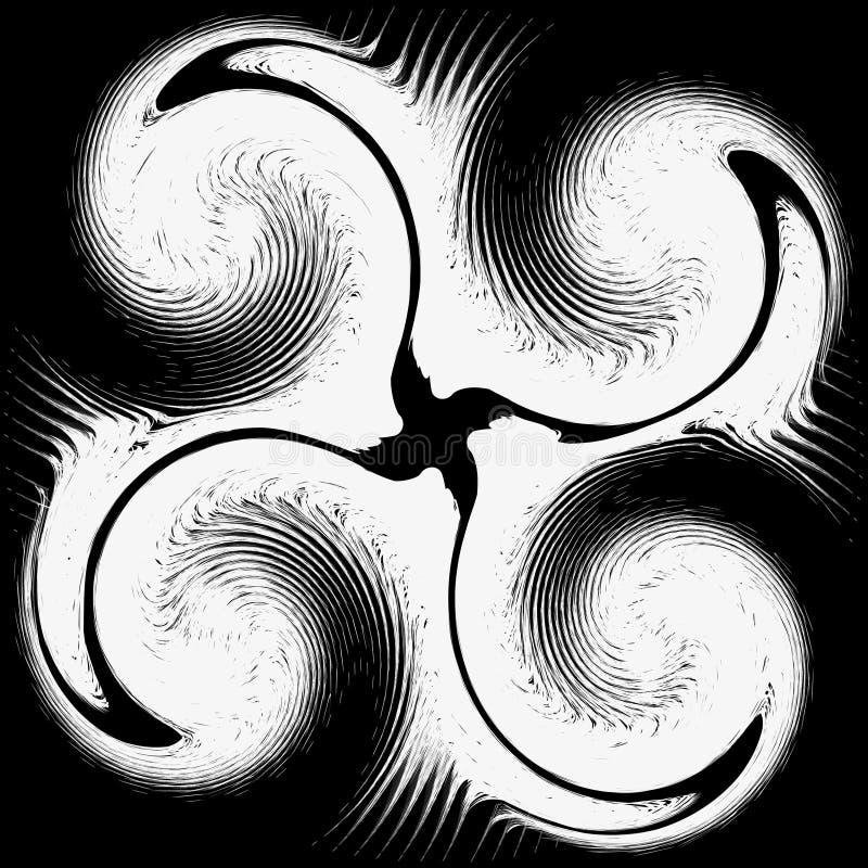 Teste padrão abstrato em um fundo preto ilustração do vetor