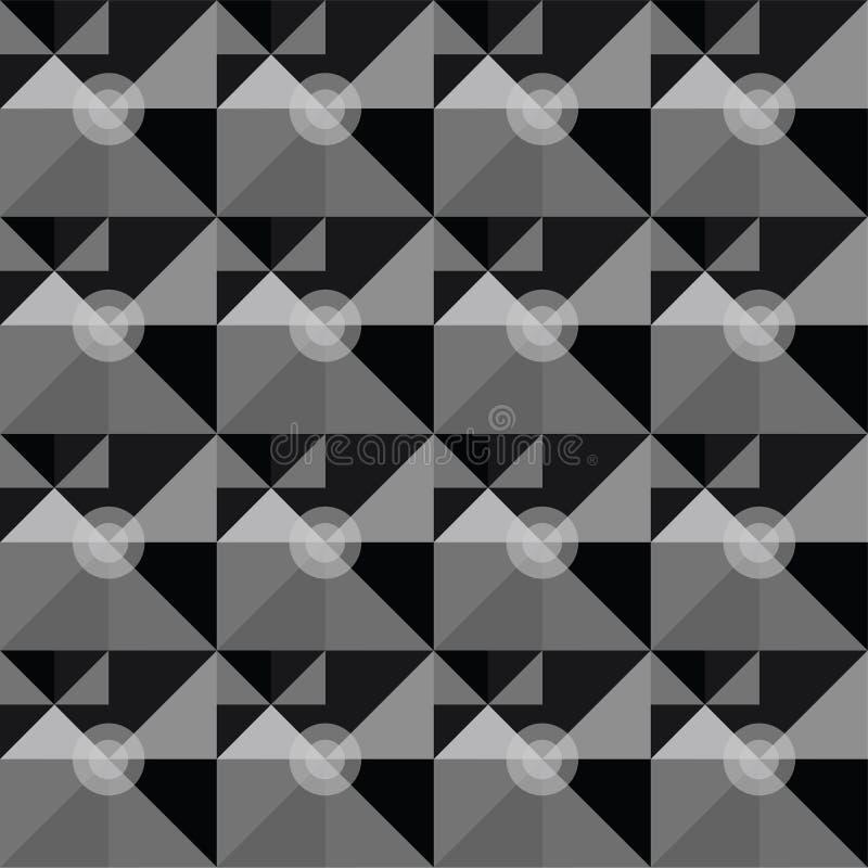 Teste padrão abstrato geométrico preto e branco quadrado ilustração stock
