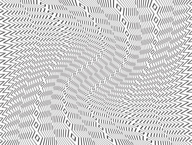 Teste padrão abstrato preto e branco com efeito de roda da distorção ilustração stock