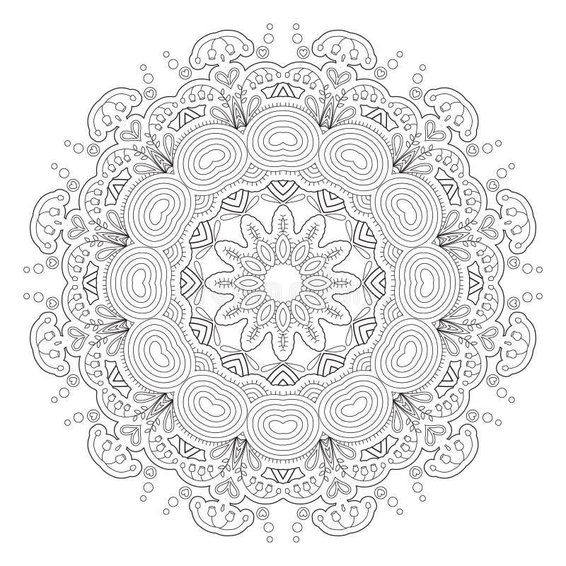 Teste padrão abstrato preto e branco, mandala ilustração stock