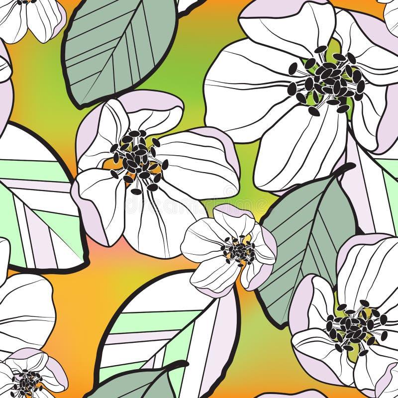 Teste padr?o abstrato sem emenda bonito de flores da ma?? do branco-lil?s e das folhas coloridas, no fundo alaranjado-verde do in ilustração royalty free
