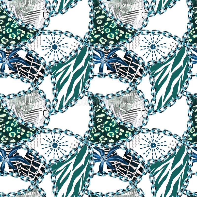 Teste padrão abstrato sem emenda com correntes, Jaguar, peles do tigre, plantas tropicais patchwork ilustração do vetor