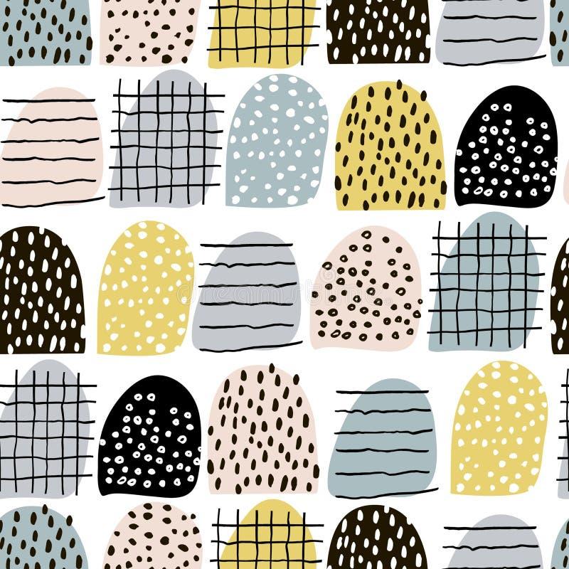 Teste padrão abstrato sem emenda com elementos tirados mão Textura na moda do vetor ilustração do vetor