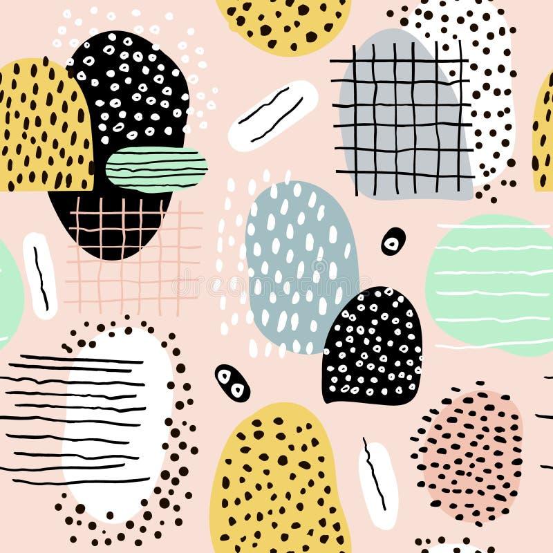 Teste padrão abstrato sem emenda com formas e elementos tirados mão Textura na moda do vetor ilustração stock
