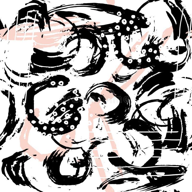 Teste padrão abstrato sem emenda com formas e elementos tirados mão Textura na moda do vetor Projeto criativo brilhante da tela ilustração royalty free