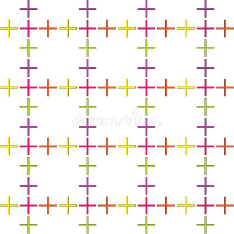 Teste padrão abstrato sem emenda criado da repetição de símbolos positivos do sinal ilustração stock