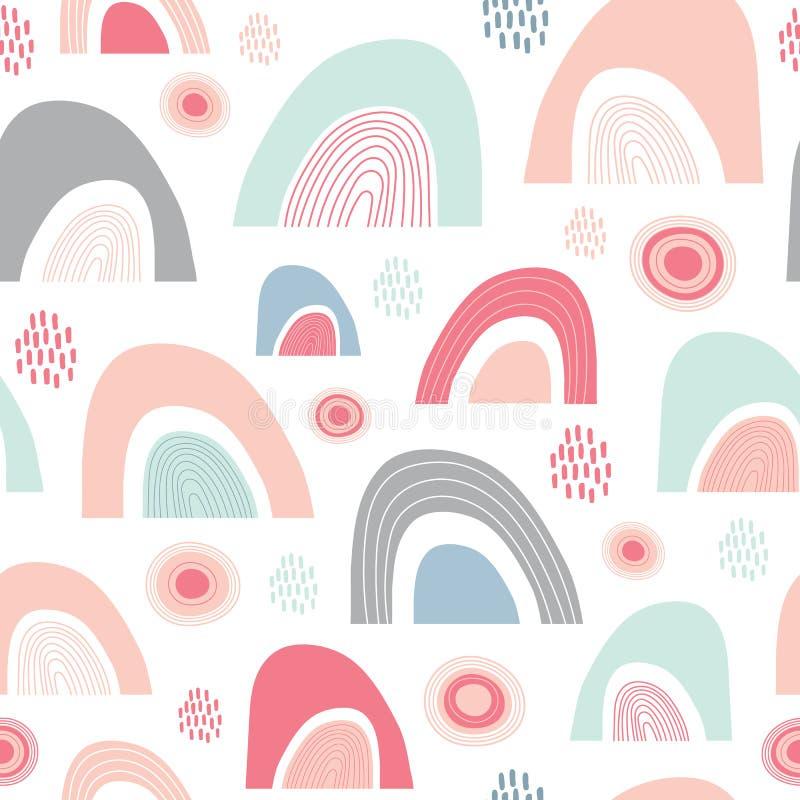 Teste padrão abstrato sem emenda da repetição da luz do sol, da chuva e dos arcos-íris Um ideal feliz do projeto geométrico do ve ilustração stock