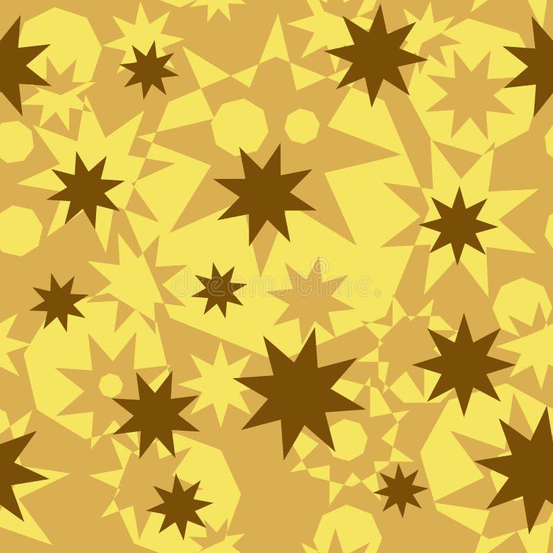 Teste padrão abstrato sem emenda de formas poligonais geométricas Ouro, bege, estrelas octogonais do ocre e octógonos ilustração stock