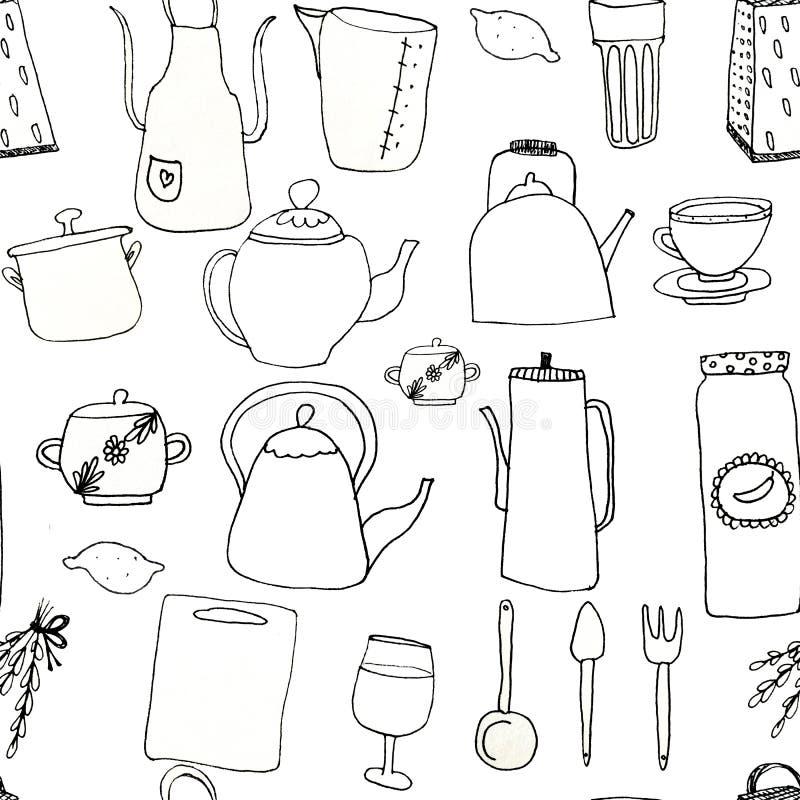 Teste padrão abstrato sem emenda de utensílios da cozinha Os utensílios da cozinha são tirados com forro a mão livre Fundo branco ilustração do vetor