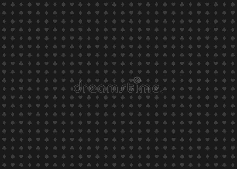 Teste padrão abstrato sem emenda do casino do vetor com sinais dos cartões de jogo, símbolos cinzentos no fundo preto ilustração stock