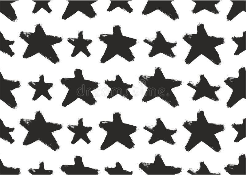 Teste padrão abstrato sem emenda do vetor da forma da estrela ou fundo abstrato sem emenda do vetor pintado à mão com escova arre ilustração stock