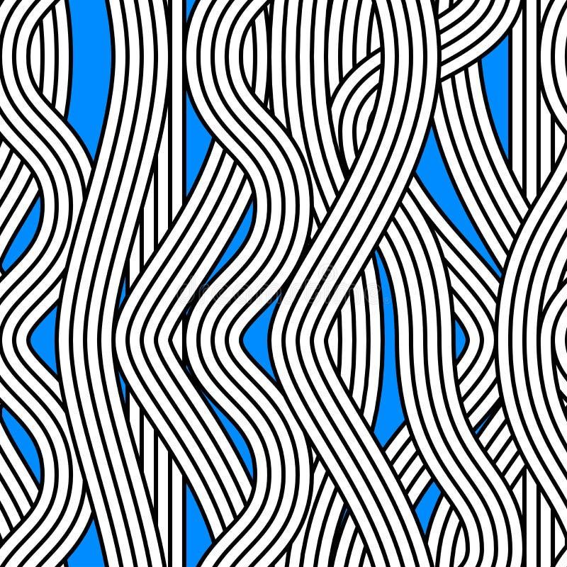Teste padrão abstrato sem emenda do vetor de onda do macarronete ilustração do vetor