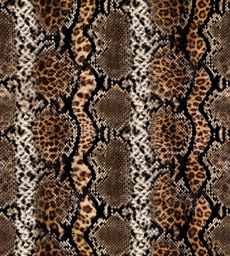 Teste padrão abstrato sem emenda em uma textura da pele, serpente fotografia de stock