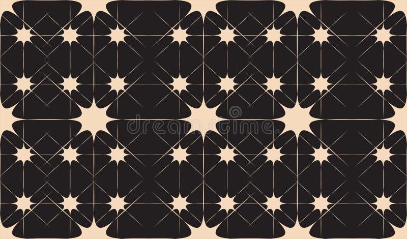 Teste padrão abstrato sem emenda preto e branco com estrelas e linhas ilustração do vetor