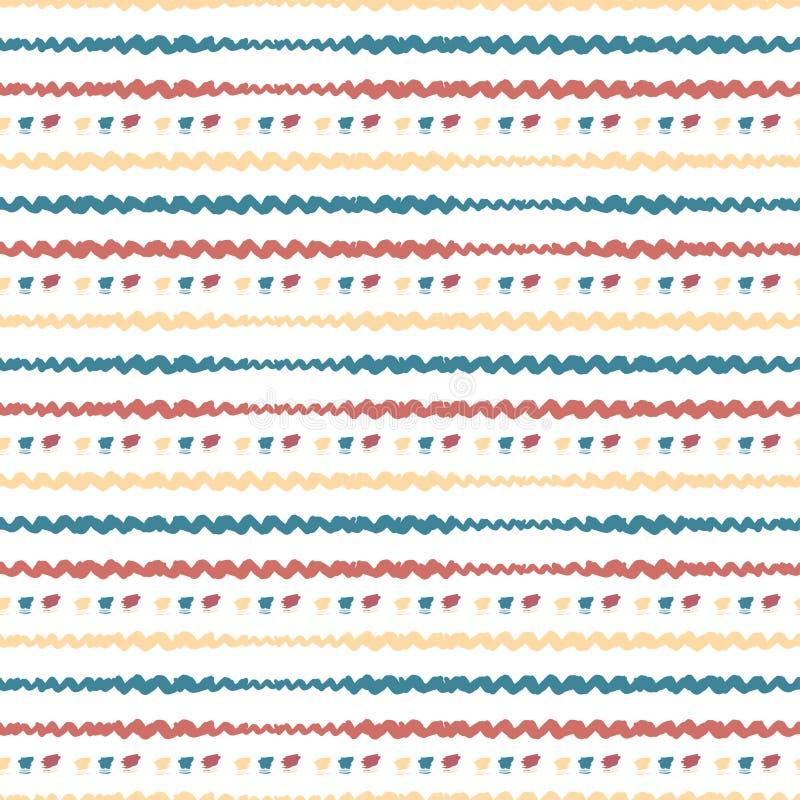 Teste padrão abstrato sem emenda tirado mão Fundo horizontal das listras do vetor colorido ilustração royalty free