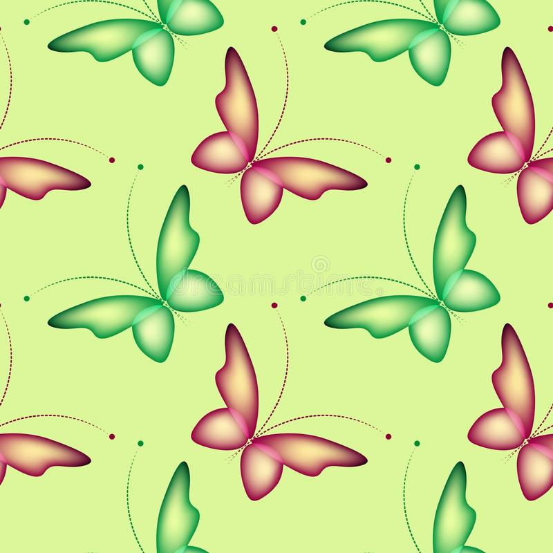 Teste padrão abstrato sem emenda verde com borboletas ilustração royalty free