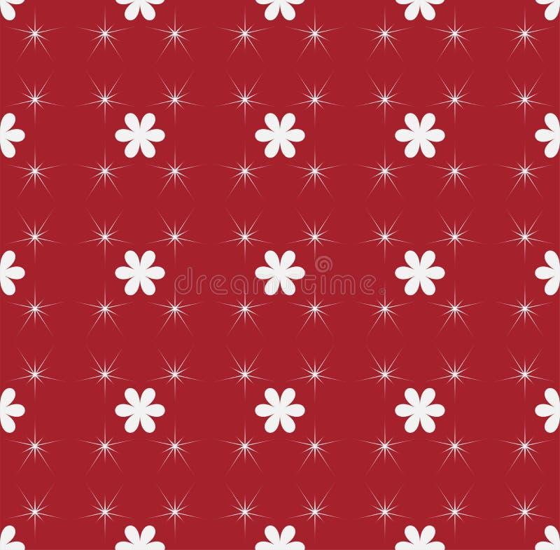 Teste padrão abstrato sem emenda vermelho e branco com estrelas e flores ilustração do vetor