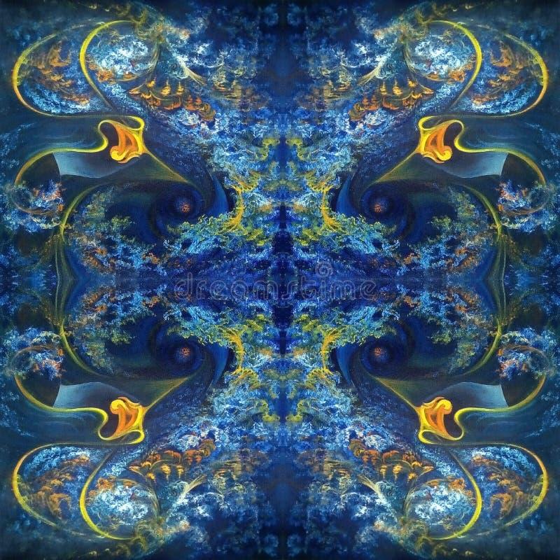 Teste padrão abstrato simétrico no azul com elementos alaranjados Pintura a ?leo na lona ilustração do vetor