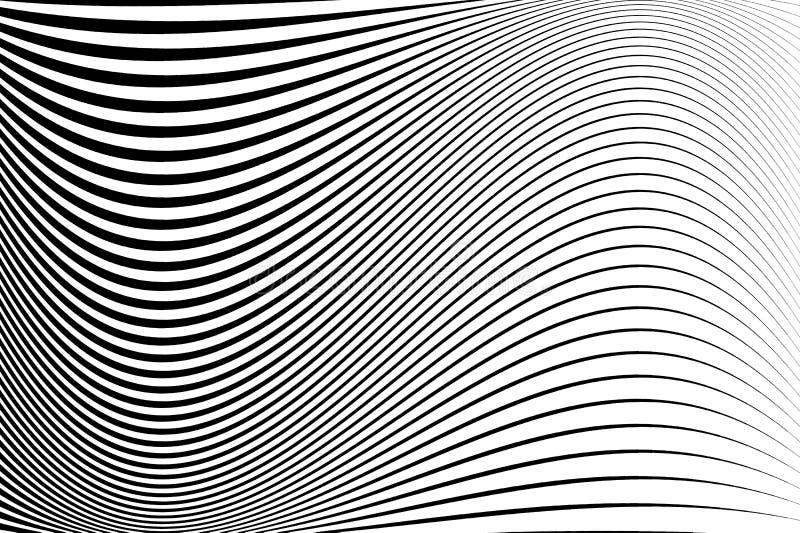 Teste padrão abstrato Textura com linhas onduladas, ondeados Fundo ótico da arte Projeto da onda preto e branco ilustração stock
