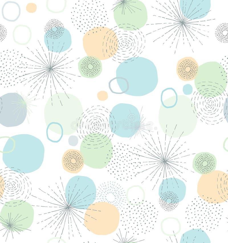Teste padrão abstrato tirado mão do vetor dos elementos Cores pasteis delicadas Fundo branco Linhas irregulares e formas redondas ilustração stock