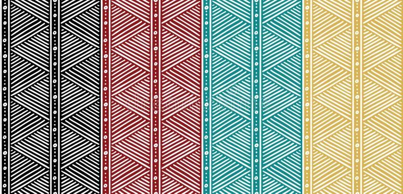 Teste padrão africano étnico sem emenda tribal com linhas ilustração royalty free