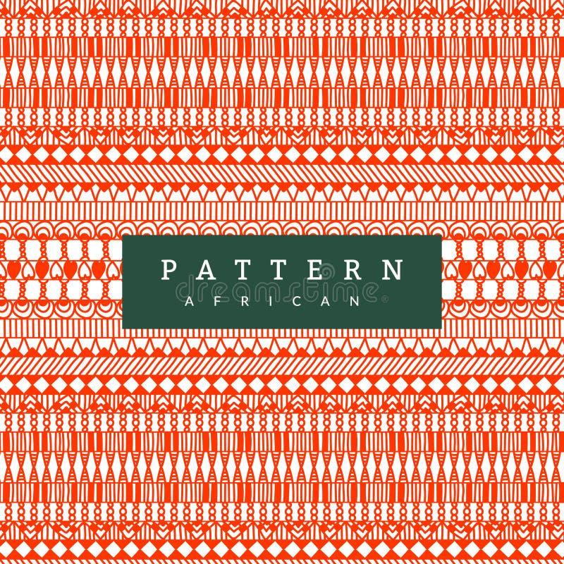 Teste padrão africano sem emenda Listras horizontais tiradas mão Cópia alaranjada brilhante para suas matérias têxteis ilustração royalty free