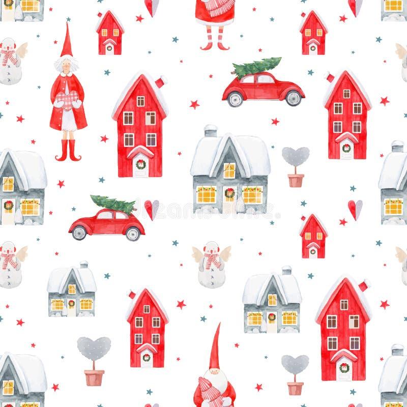 Teste padrão agradável do vetor do Natal da aquarela ilustração royalty free