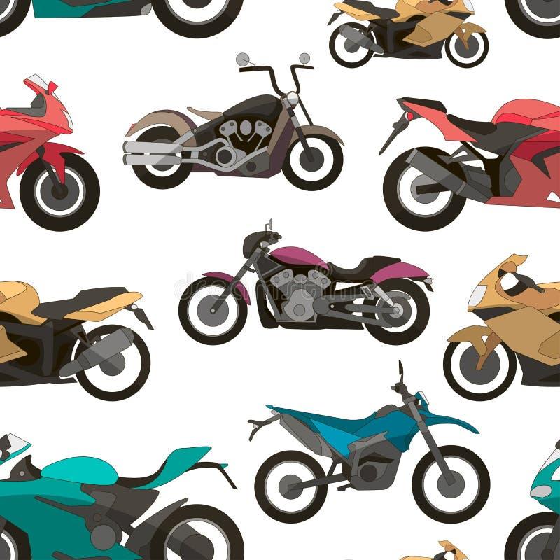 Teste padrão ajustado ícones da motocicleta ilustração royalty free