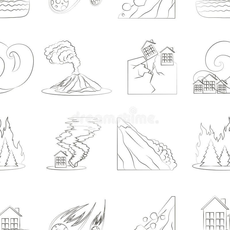 Teste padrão ajustado do ícone da catástrofe natural ilustração royalty free
