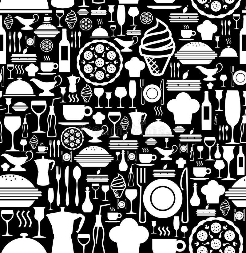 Teste padrão ajustado do ícone do gourmet ilustração stock