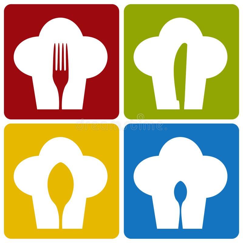 Teste padrão ajustado do restaurante do cozinheiro chefe do ícone. ilustração royalty free