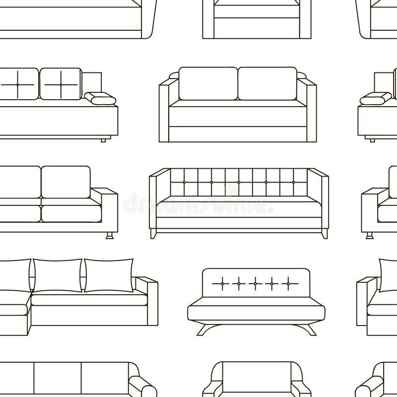 Teste padrão ajustado do sofá ilustração do vetor