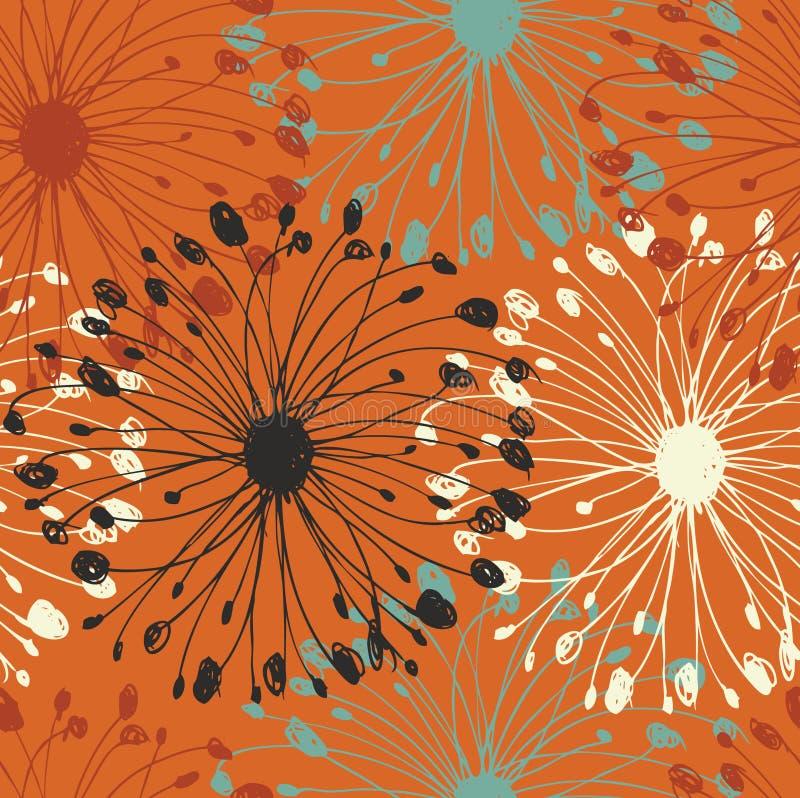 Teste padrão alaranjado do radial do grunge Fundo sem emenda do flourish decorativo para cartões, ofícios, matéria têxtil, papéis ilustração stock