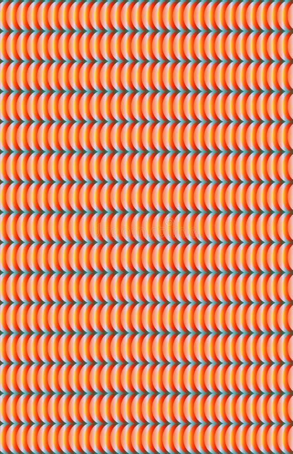 Teste padrão alaranjado e branco brilhante com linhas curvy ilustração stock