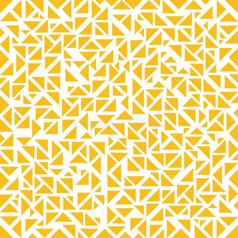 Teste padrão aleatório dos triângulos amarelos abstratos no fundo branco ilustração do vetor