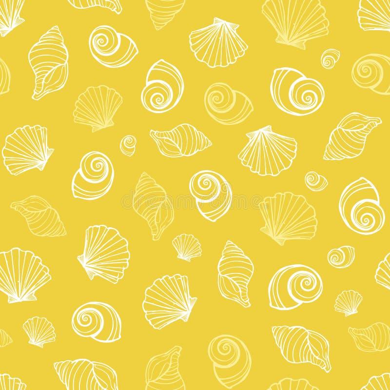 Teste padrão amarelo da repetição das conchas do mar do vetor Apropriado para o papel de embrulho, a matéria têxtil e o papel de  ilustração royalty free