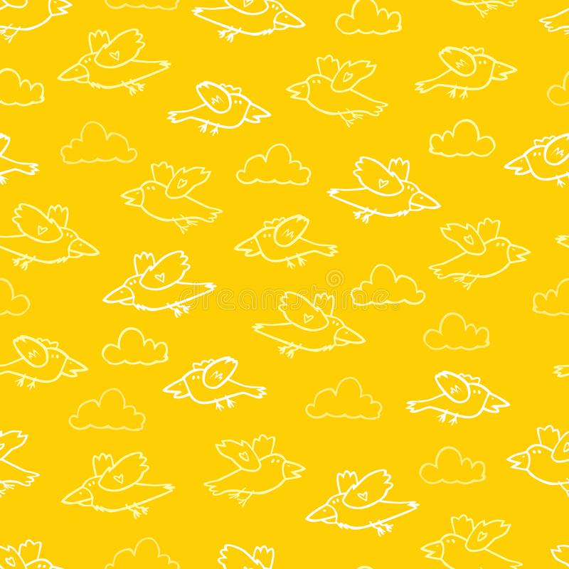 Teste padrão amarelo da repetição dos pássaros dos desenhos animados do vetor Apropriado para o papel de embrulho, a matéria têxt ilustração royalty free