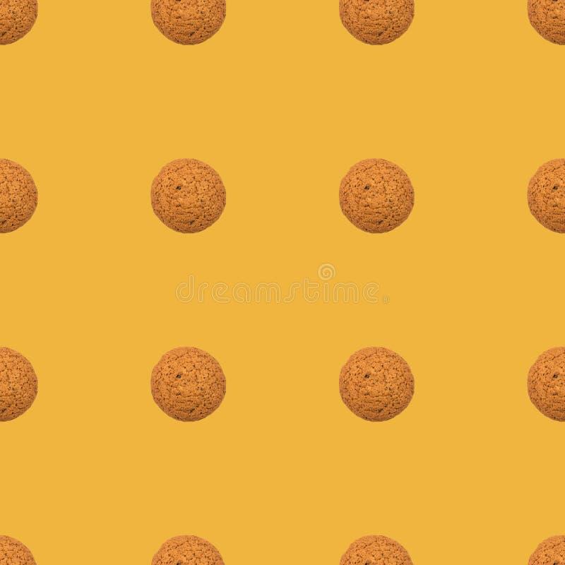 Teste padrão amarelo de repetição sem emenda das cookies ilustração do vetor
